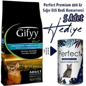 Gifyy 15 Kg Tavuklu Kedi Maması Alana 5 Adet 400 Gr Konserve HEDİYEMİZ