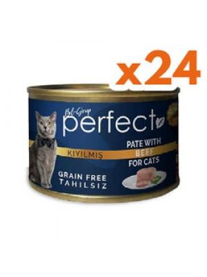 Perfect Beef Pate Kıyılmış Biftekli Tahılsız Kedi Konservesi 80 Grx24 Adet